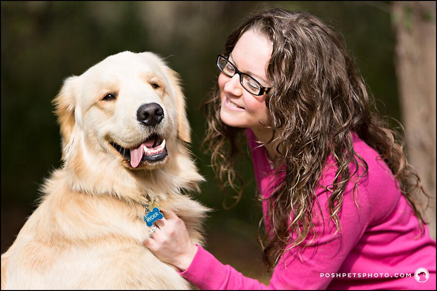 girl with golden retriever dog
