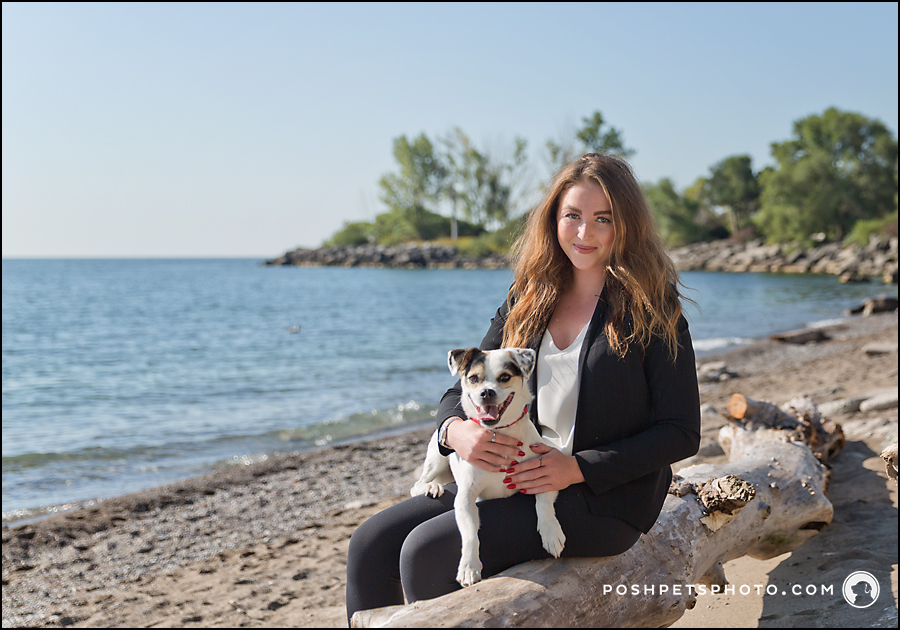 girl and dog at lake ontario