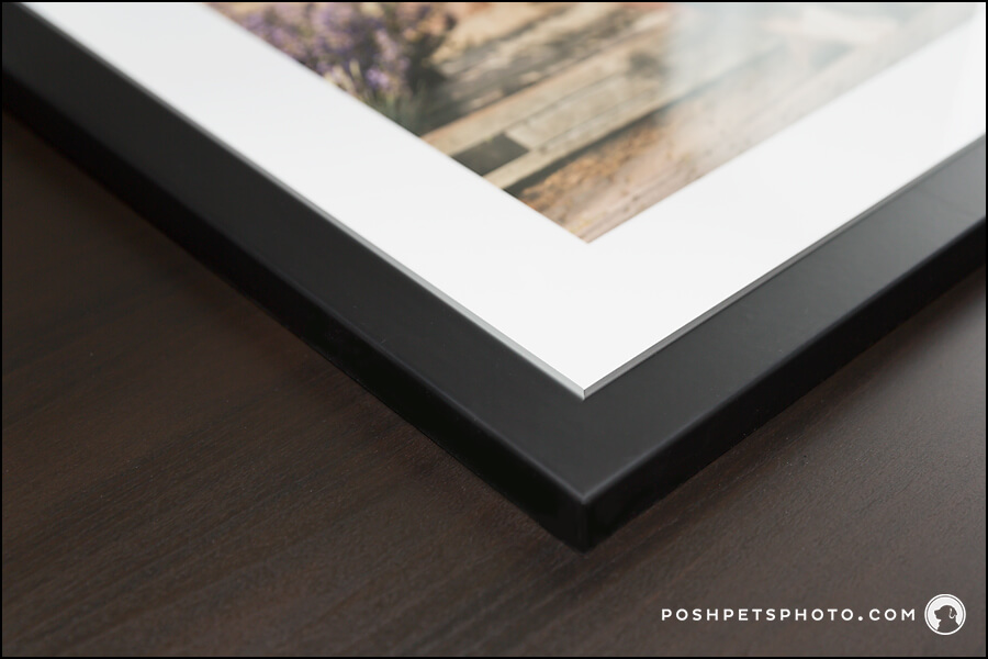 Corner of custom framed photograph